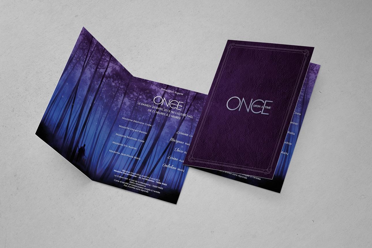 Carton d'invitation once a upon time soirée privée