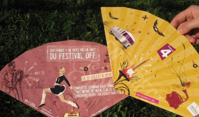 Flyer en forme d'éventail pour la promotion d'émission de télévision pour la chaine France 4