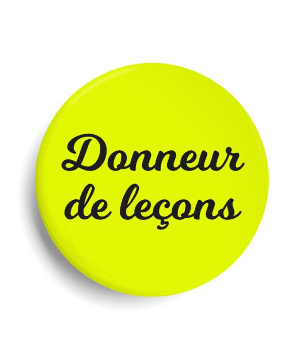 Badge donneur de lecon jaune fluo