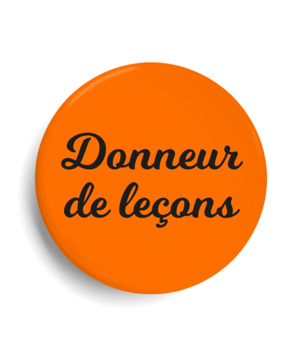 Badge donneur de lecon orange fluo