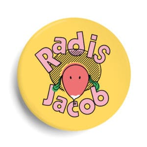 Badge Radis Jacob personnalisé - vegan