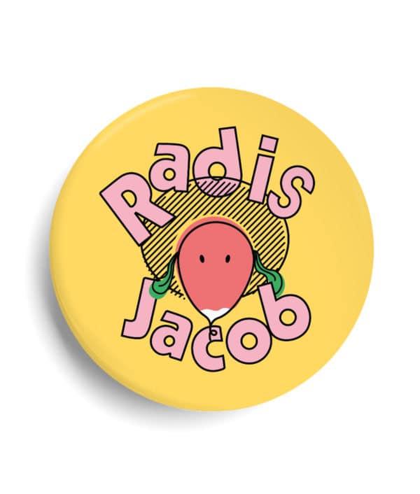 Badge Radis Jacob personnalisé - vegan