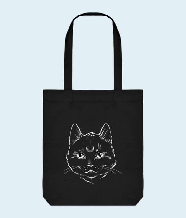Tote bag coton bio chat noir mystique