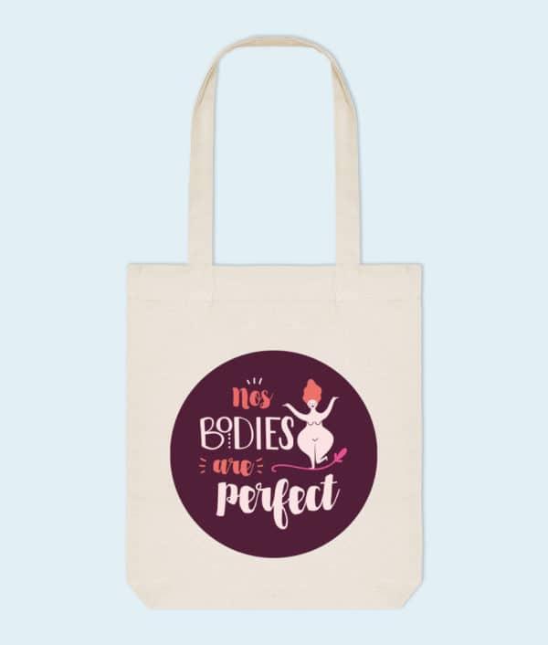 Tote bag coton bio No bodies are perfect